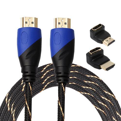 (#23) 3m HDMI 1.4 Version 1080P Woven Net Line Blue Black Head HDMI Male to HDMI Male Audio Video Co