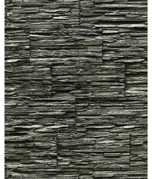 Papier peint quartzite ardoise en relief 1003-34 vinyle très résistant aspect pierre gris foncé anthracite | 5,33m2