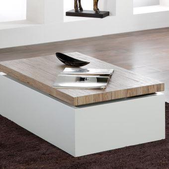 Table Basse Coffre Blanc Et Bois Clair Andorre L 100 X P 60 X H 34 Cm