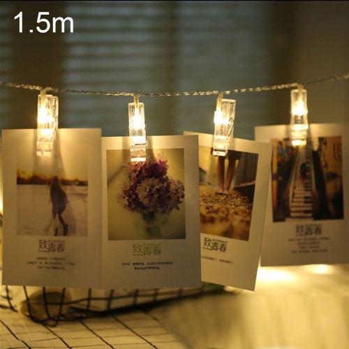 Eclairage LED Guirlande/Décoration LED 1,5 m de lumière blanche chaude clip photo LED guirlande lumineuse, 10 LED, 2 piles AA, piles à chaînes, lampe, lampe décorative pour la maison, images suspendues, fête de bricolage, mariage, décoration de Noël