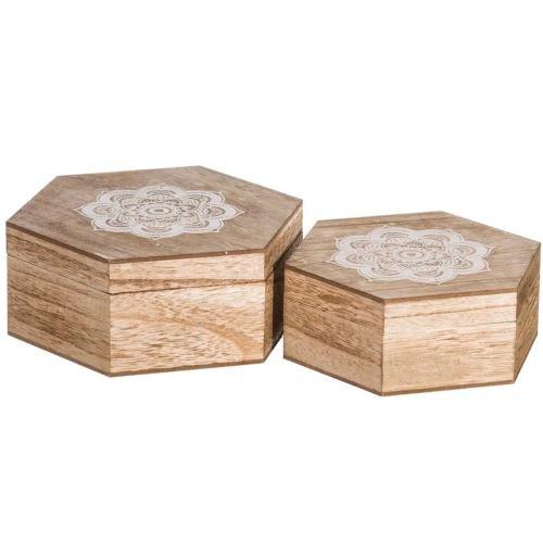 Lot de 2 Boîtes bois