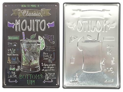 plaque métal déco vintage - effet relief - mojito classic recette façon ardoise (20x30cm)