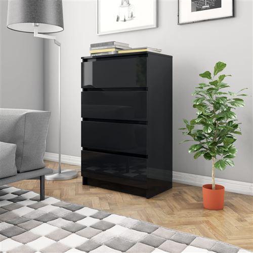 Buffet Noir brillant 70 x 40 x 97 cm Aggloméré