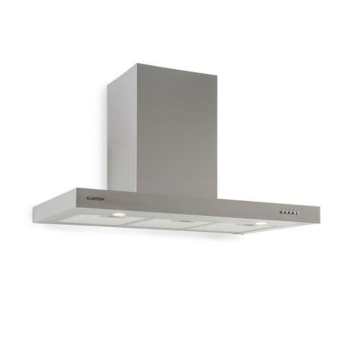 Klarstein Zarah 90 - Hotte - hotte décorative - largeur : 90 cm - profondeur : 50 cm - extraction et recirculation (avec kit de recirculation supplémentaire) - inox brossé
