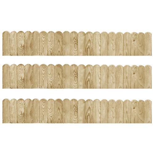 vidaXL Rouleaux de bordure 3 pcs 120 cm Bois de pin imprégné