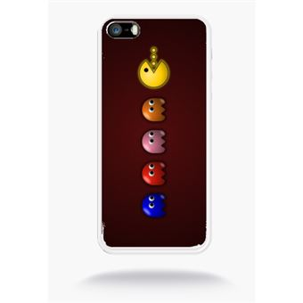 Coque Pacman Compatible Apple Iphone 5s Silicone Blanc Mat