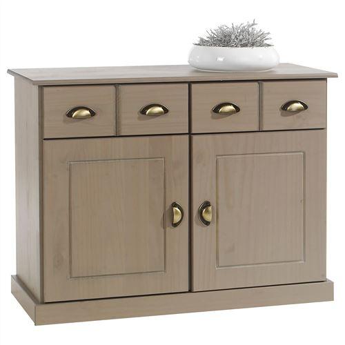Buffet PARIS commode bahut vaisselier avec 2 portes battantes et 2 tiroirs pin massif lasuré taupe