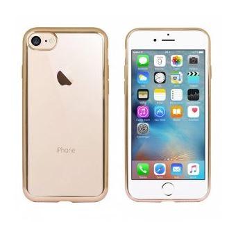 Coque souple pour iPhone 7 gold et dos transparent