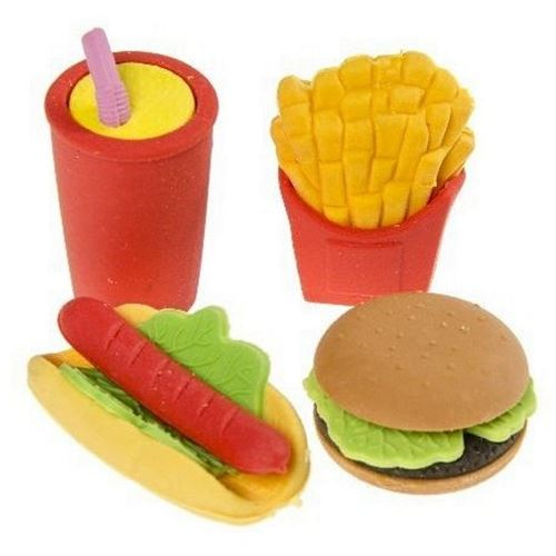 Set 4 Gommes Fast Food Frite Hamburger Hot Dog Soda Papeterie Scolaire