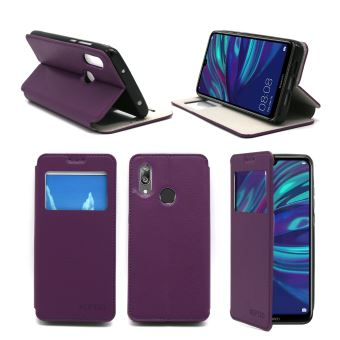 Housse Huawei Y7 2019 violette avec fenêtre - Etui Coque Huawei Y7 2019 Protection antichoc à rabat Smartphone 2019 - Accessoires Pochette Case XEPTIO