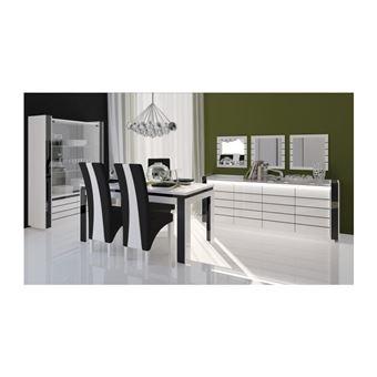 Salle à manger complète LINA blanche et noire. Buffet + Vaisselier + ...