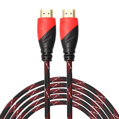 (#23) 5m HDMI 1.4 Version 1080P Nylon Woven Line Red Black Head HDMI Male to HDMI Male Audio Video C