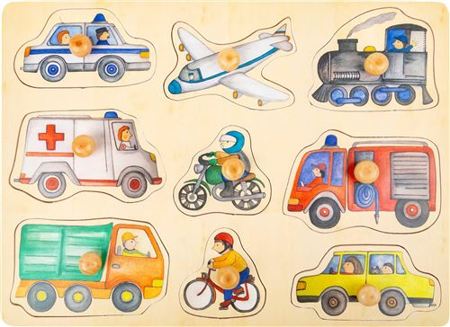 Small Foot forme puzzle Véhicules bois junior 9 pièces