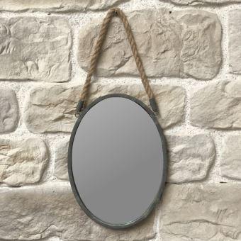 Miroir Mural En Métal Fer Ovale Avec Corde Style Industriel 42.50 Cm X 31  Cm   Achat U0026 Prix | Fnac