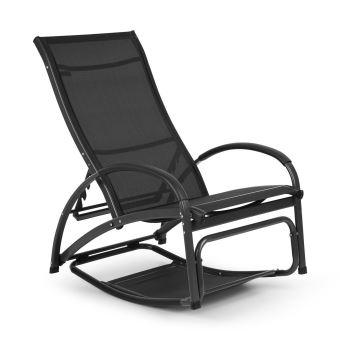 Blumfeldt Beverly Wood Chaise longue de jardin à bascule - Transat Bain de  soleil pliable - aluminium noir