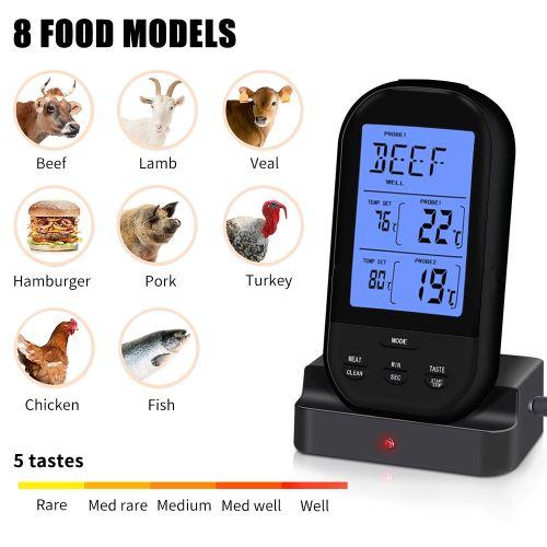 Decdeal Thermomètre à viande sans fil Thermomètre alimentaire Barbecue Barbecue Grill Fumeur Thermomètre Cuisson du four à aliments Thermomètre