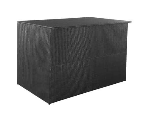 Boîte de rangement de jardin Noir 150x100x100 cm Résine tressée alsa