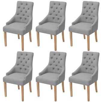 vidaxl chaises de salle a manger 6 pcs bois de chene tissu gris clair