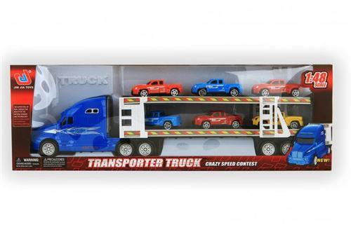 Jonotoys - Camion transporteur + 6 voitures - Couleur aléatoire