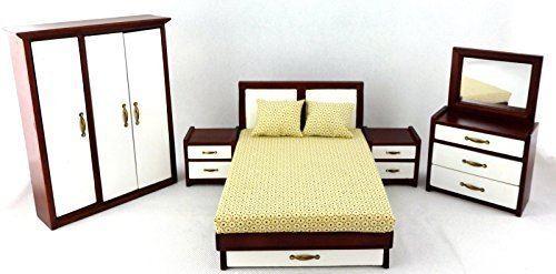 Dollhouse Miniature 112 Scale 5 Pc Modern Mahogany Bedroom SET # T3268