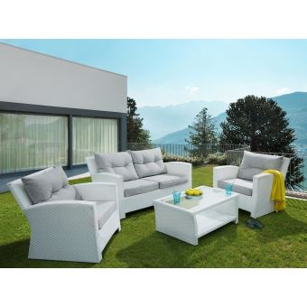 Beliani - Ensemble de jardin en rotin - Set de terrasse blanc - Mobilier de  jardin - San Marino