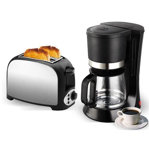 Set petit déjeuner - Grille pain 2 fentes finition inox + Machine à café - 680W - 1.2L
