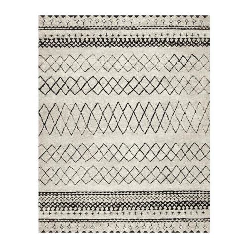 MAROKKO Tapis de salon 120x170 cm - Beige et Marron / Noir