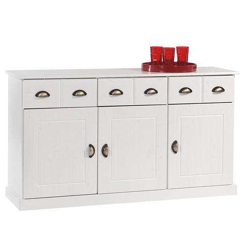 Buffet PARIS commode bahut vaisselier avec 3 portes battantes et 3 tiroirs pin massif lasuré blanc