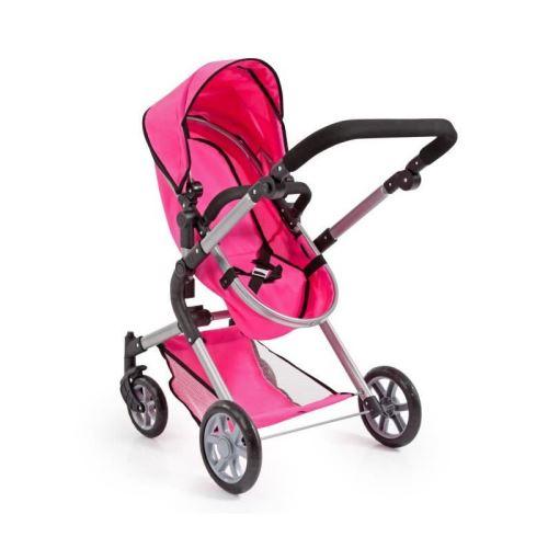 BAYER Landau pour poupée Neo Star rose vif avec sac a bandouliere et panier d'achat intégré réglable - convertible poussette