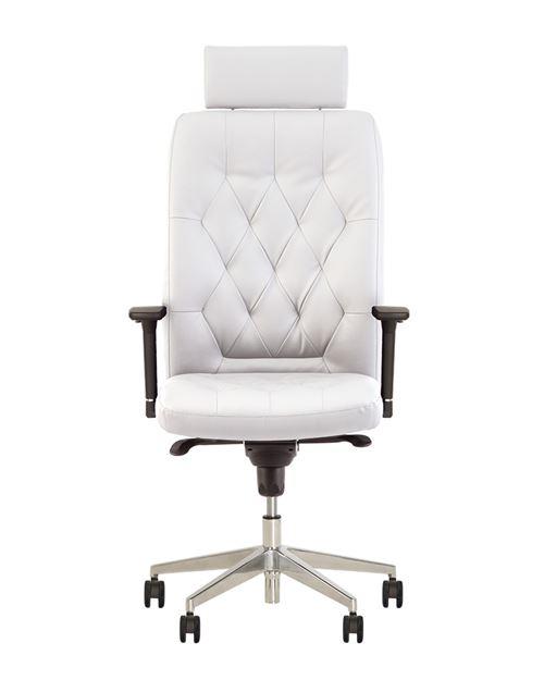 Chester fauteuil de direction professionnel multiposition synchrone, capitonné, vintage blanc