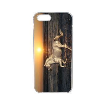 Coque cheval blanc couché de soleil sur la plage compatible iphone 5s transparent