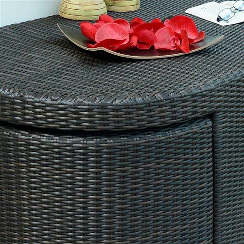 Table et 2 fauteuils en résine tressée cacao Easy - Mobilier de ...