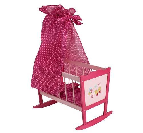 Lit berceau à bascule en bois poupée - rose - dim. 49x37x78 cm