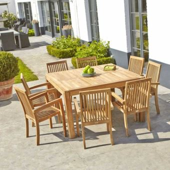 Table de jardin en bois de teck carrée 6 à 8 places - Mobilier de ...