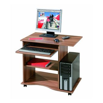 15 sur bureau console meuble informatique table tablette clavier avec roulette noyer achat - Meuble bureau ferme avec tablette rabattable ...