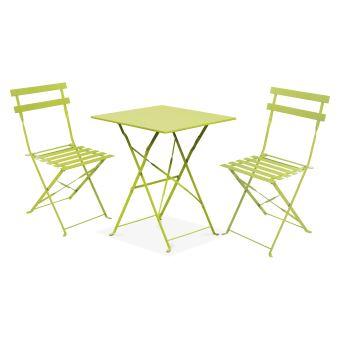 Table Bistrot De Jardin Et 2 Chaises Pliantes Vert Mobilier De Jardin Achat Prix Fnac