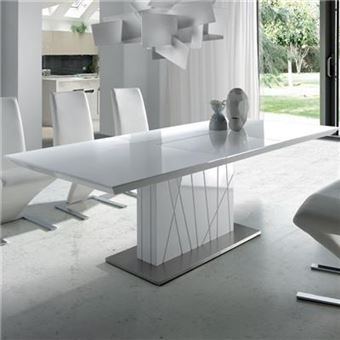 Table Blanc Laque Extensible.Table A Manger Extensible Blanc Laque Design Elodie L 220 X P 90 X H 76 Cm