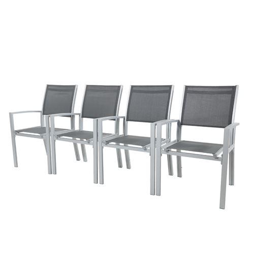 Avril Paris - HARA XXL - Table de jardin extensible aluminium 200/320cm +  12 fauteuils textilène Argentée