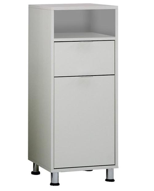 Commode de salle de bain coloris blanc - L.37 x H.90,5 x P.33 cm -PEGANE-