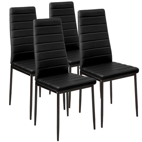TecTake Lot de 4 chaises avec surpiqûre - noir