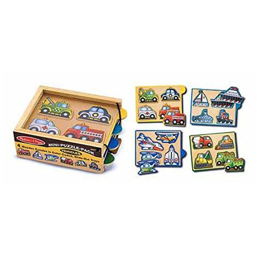 Melissa Doug Vehicles Wooden Mini-Puzzle Set With Storage and Travel Case