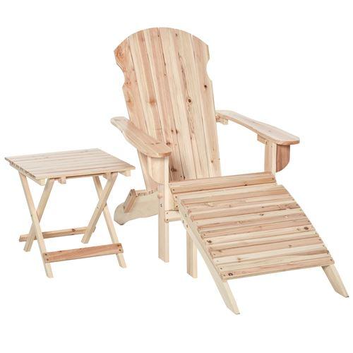 Fauteuil de jardin Adirondack pliable avec repose-pied et table basse bois sapin traité naturel