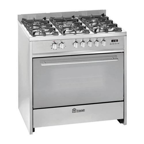 TRIOMPH TME906GXA - Cuisinière - pose libre - largeur : 90 cm - profondeur : 60 cm - hauteur : 89 cm - avec système auto-nettoyant - acier inoxydable