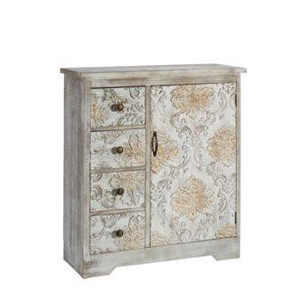 meuble dentre 1 portes 4 tiroirs bois frejus l 80 x l 30 x h 90 achat prix fnac