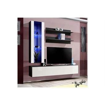 Meuble Tv Mural Design Fly Ii 170cm Blanc Noir Achat