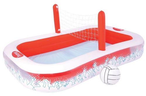 Grande piscine rouge et blanche avec terrain de volley - 254x168x97cm (lxlxh)