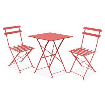 Table bistrot de jardin et 2 chaises pliantes - Rouge ...