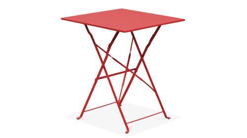 Table bistrot de jardin et 2 chaises pliantes - - Rouge