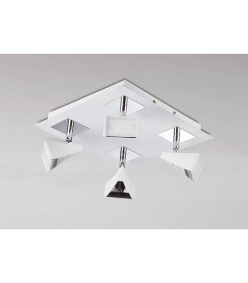 Spot Filippo 4 Ampoules LED carré 20W 3000K, 1750lm, blanc mat/chrome poli