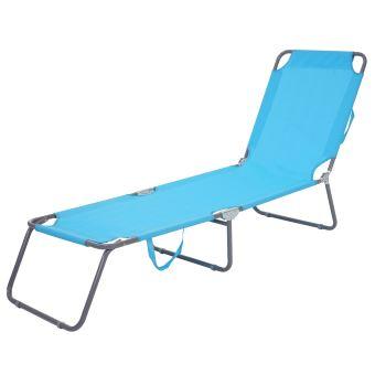 Chaise longue de jardin hwc b11 transat bain de soleil tissu pliable bleu clair mobilier for Chaise longue bain de soleil pliable